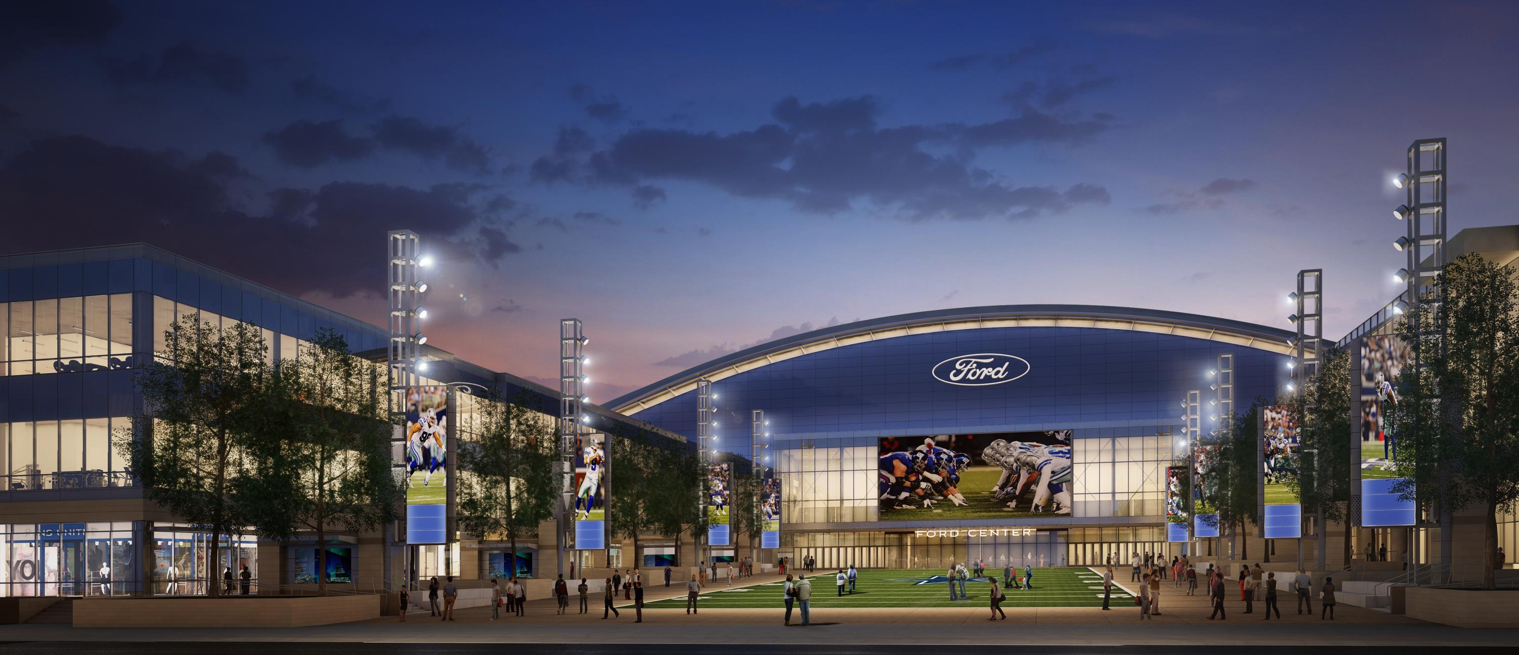 Dallas cowboys open 1 5 billion mixed use hq practice facility with detroit lions connection