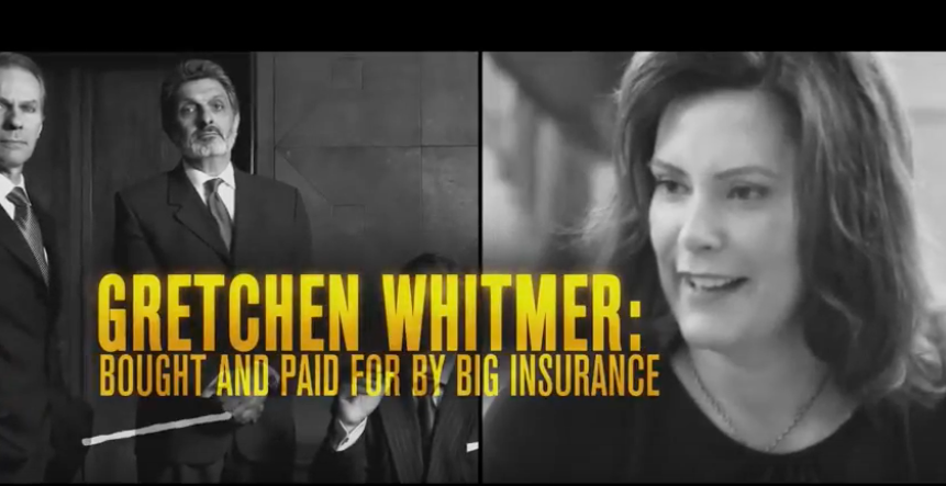 schuette ad whitmer bought and paid for by blue cross