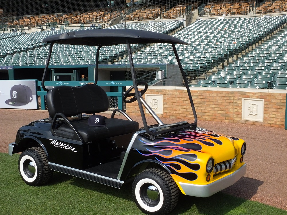 Tigers unveil sponsored bullpen cars against Yankees on custom pinstriping by hot dog, custom pinstriping stencils, custom truck pinstriping,